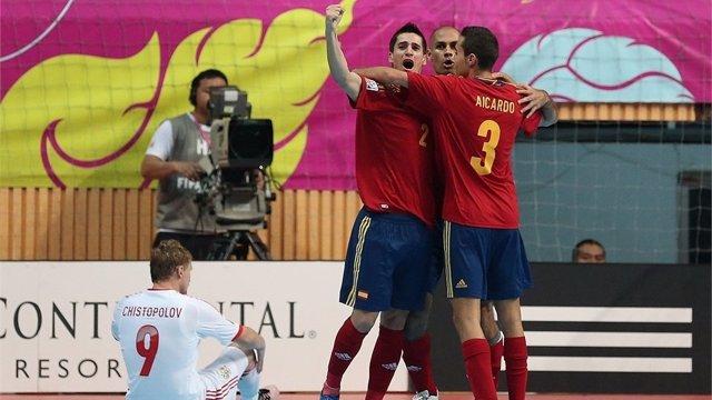 Ortiz, Fernandao y Aicado, España - Rusia en el Mundial de fútbol sala