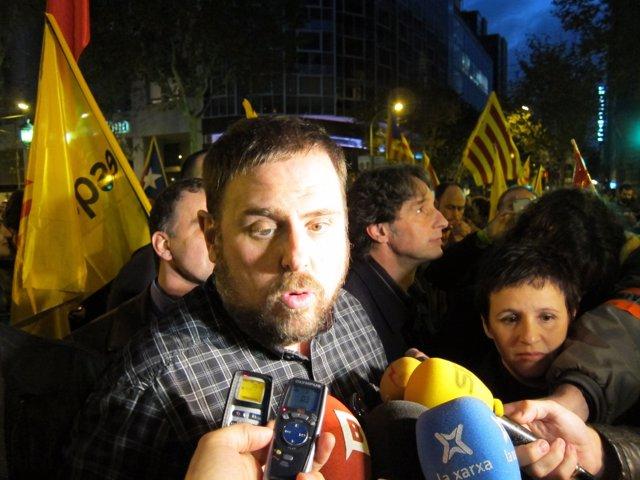 Oriol Junqueras (ERC) en la manifestación del 14N