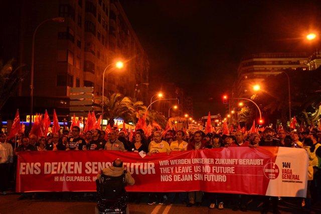 Manifestación Huelga General 14N Alicante
