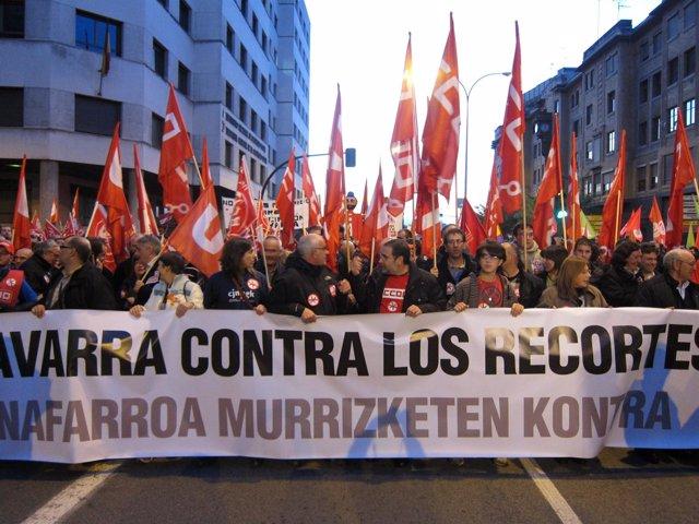 Manifestación en Pamplona durante la huelga general del 14N.