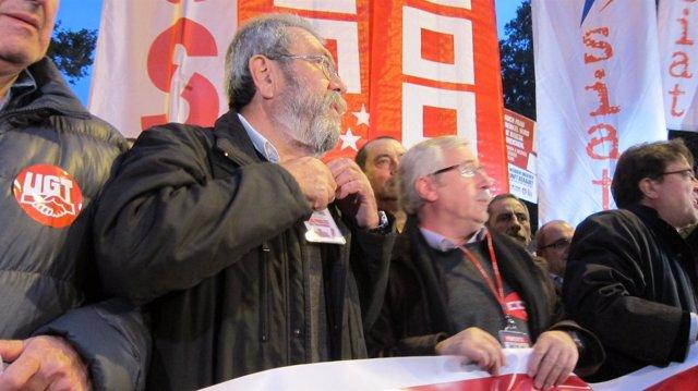 Méndez y Toxo en la manifestación del 14N