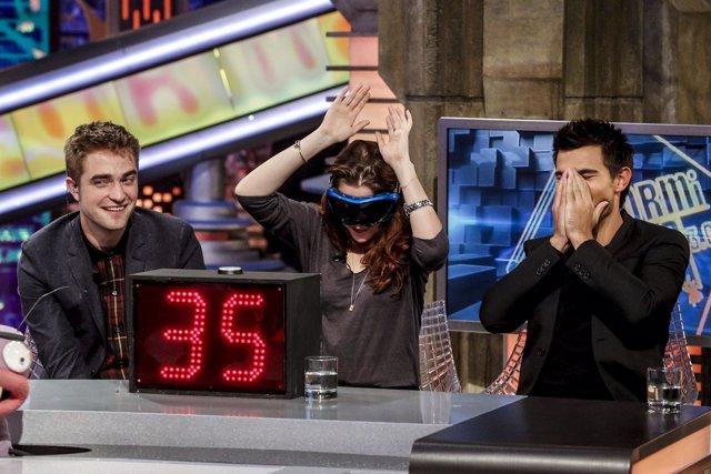 Robert Pattinson, Kristen Stewart y Taylor Lautner en 'El Hormiguero'