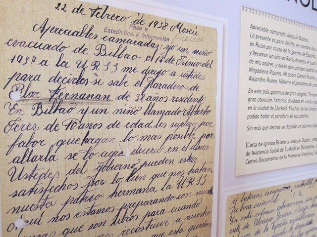 Reproducción de una carta que envían los padres españoles desde Bilbao