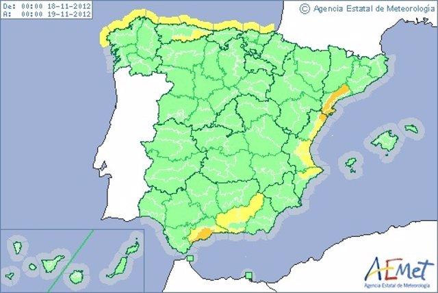 Mapa De Aemet Con La Previsión Del Domingo