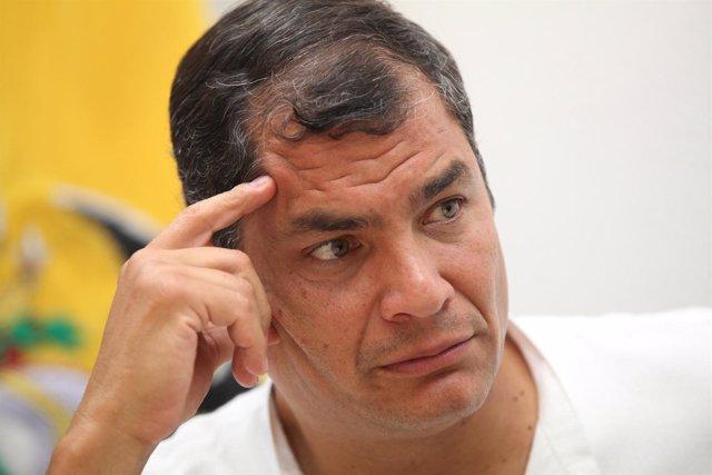 El presidente ecuatoriano, Rafael Correa, de visita en Madrid