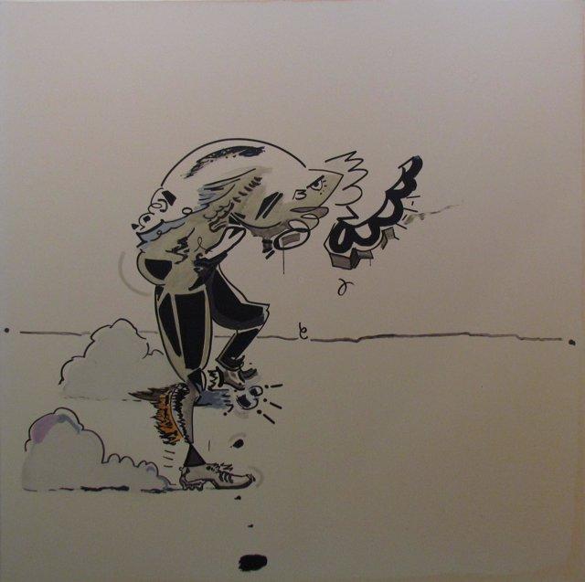 Una de las obras de 'Mighty buckaroo' en la galería Javier Silva.