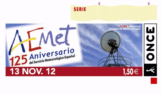 La ONCE dedica el cupón del 13 de noviembre a los 125 años de la AEMET