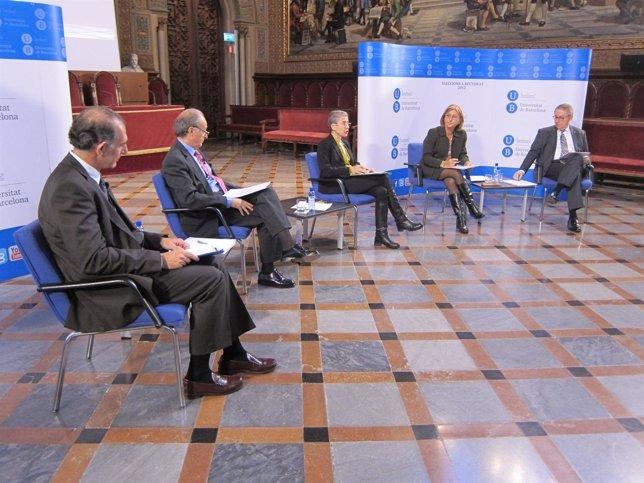 Candidatos a rector de la UB J.Gutiérrez; J.A.Bombí; V.Girona y D.Ramírez