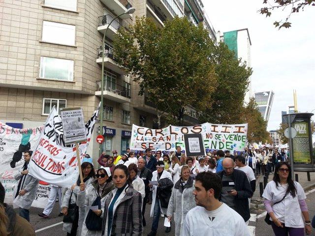 Manifestación por la Sanidad Pública en Madrid #TsunamiBlanco
