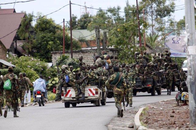Miembros del M23 en las calles de Goma