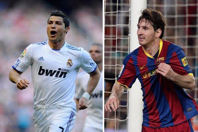 Montaje Messi del FC Barcelona y Cristiano Ronaldo del Real Madrid