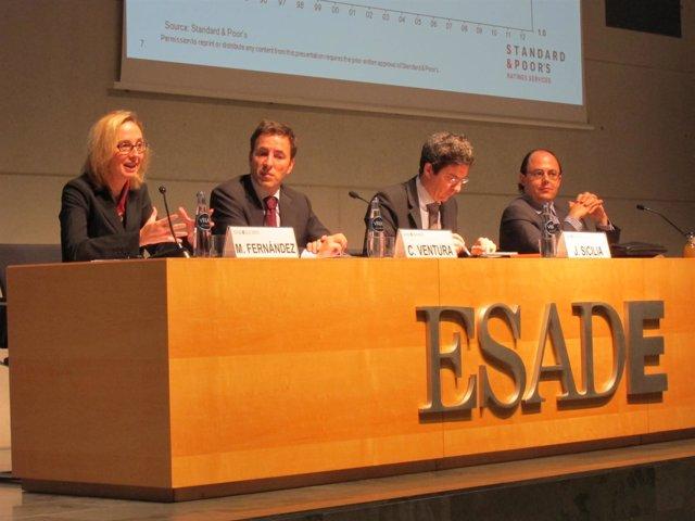 M. Fernández (S&P), C.Ventura (Banco Sabadell), J.Sicilia (BBVA) y P.Triana