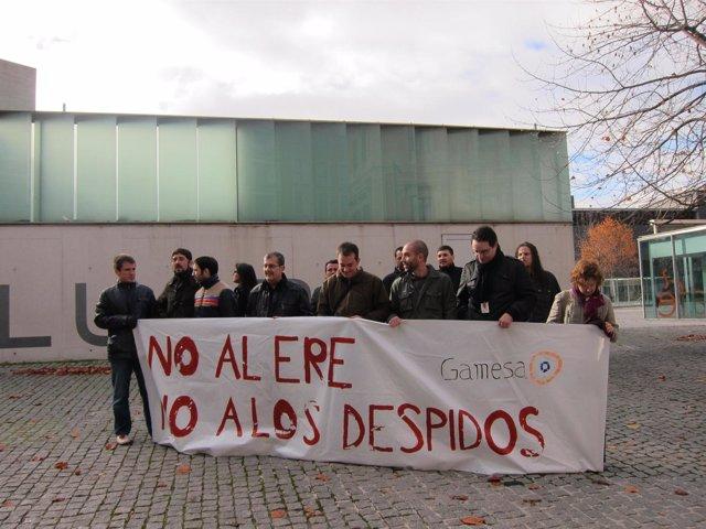 Concentración de los trabajadores de Gamesa en Pamplona.
