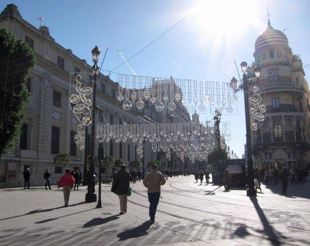 Iluminación de Navidad en el centro de Sevilla