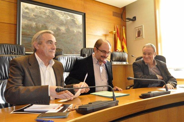 Javier Sada, Javier Lambán y Miguel Gracia