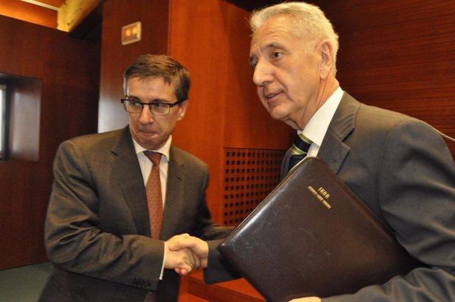 Modesto Lobón y el diputado José Manuel Cruz
