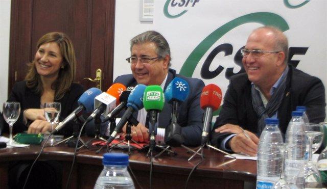 El presidente del PP-A, Juan Ignacio Zoido, hoy en CSI-F
