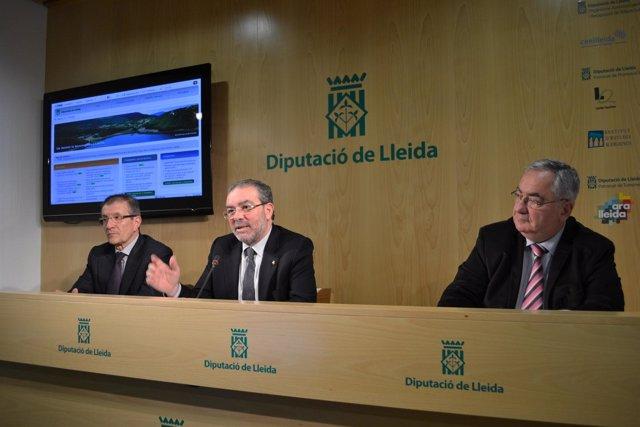 J.Eroles, J.Reñé (pte. Diputación de Lleida) y X.Manuel