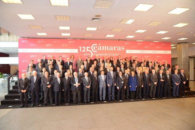 Reunión de las cámaras de comercio españolas en Madrid con el Principe Felipe