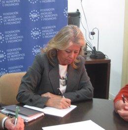 Ángeles Muñoz, hoy en la sede de la FAMP
