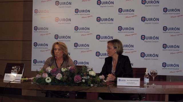Pilar Serrano y María Cordón en un momento de la rueda de prensa