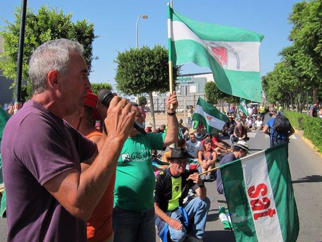 Cañamero, en la marcha del SAT en la provincia de Almería