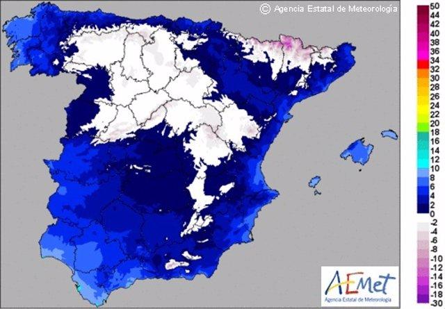 Temperaturas mínimas en España el 6 de diciembre
