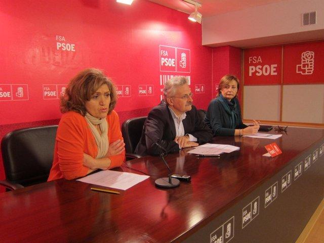 Por la izquierda, Carcedo, Trevín y Monteserín, en rueda de prensa.