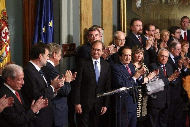 Rajoy, Posada y García-Escudero en el acto de la Constitución