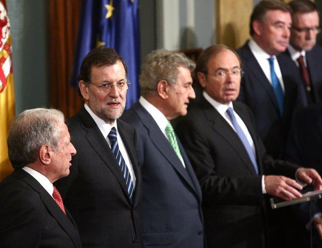 Rajoy, Posada, García-Escudero y otros en el acto de la Constitución