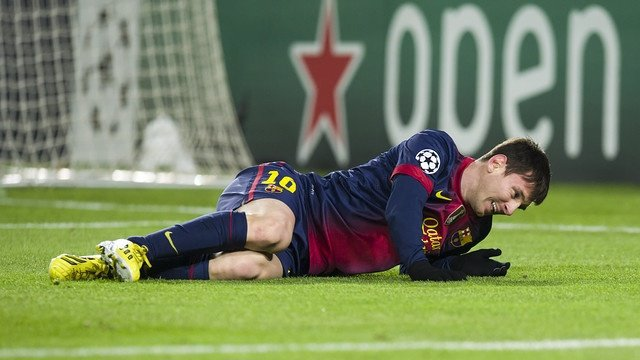 Messi, en el momento de su lesión