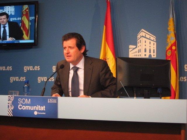 José Císcar en la rueda de prensa de pleno del Consell