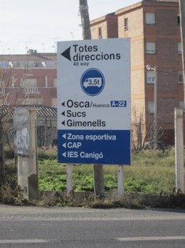 Cartel con topónimos aragoneses en Catalán
