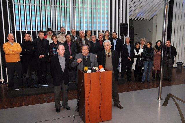Rueda de prensa en 2011 en la que ACPV anunciaba el cierre de emisiones de TV3