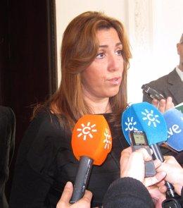 Susana Díaz, este miércoles en rueda de prensa