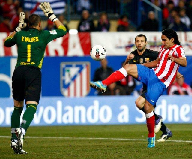 Falcao, del Atlético de Madrid, ante el Barcelona