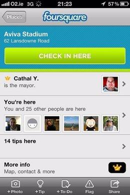 Aplicación de Foursquare para iOS