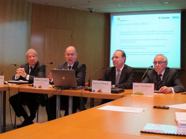 S.Soley (UnnimCaixa), X.Queralt (BBVA y Unnim Banc), J.Ribera y J.Contijoch