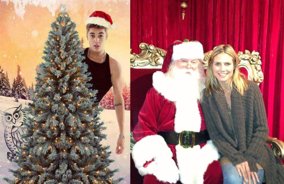 Justin Bieber y Heidi Klum (montaje)