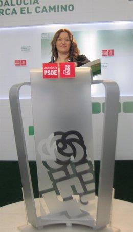 La secretaria de política institucional del PSOE-A, Verónica Pérez, hoy