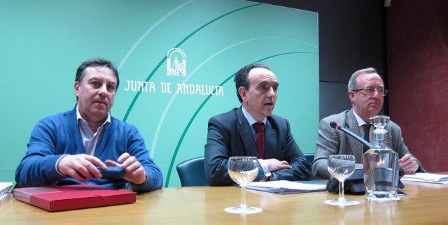 Rafael Navas, Rafael Rodríguez y Gonzalo Fuentes, hoy en rueda de prensa.