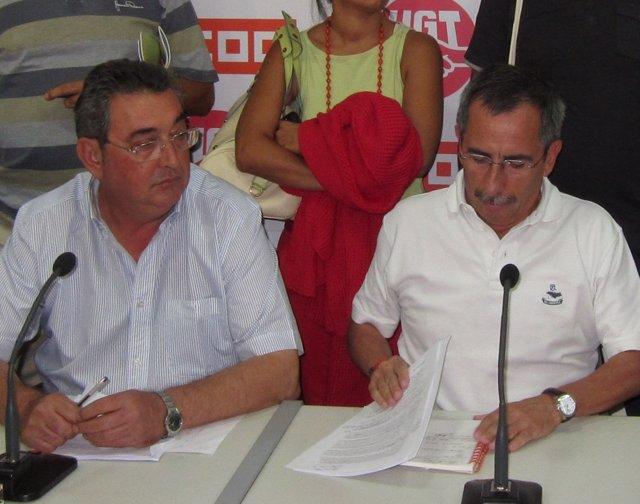 Toni Ferrer (UGT) Y Ramón Górriz (CC.OO.)