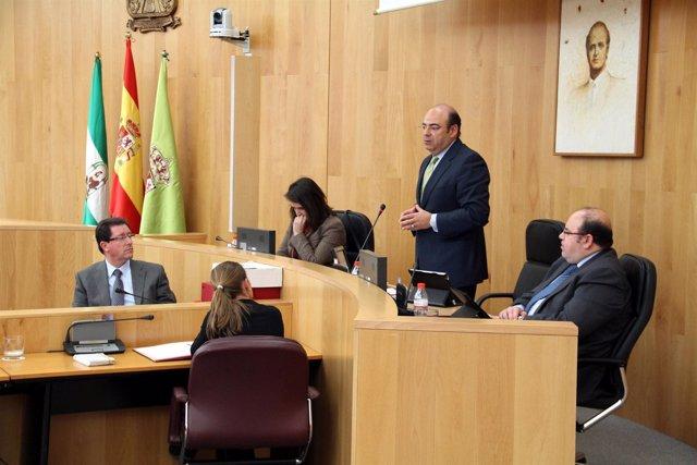 Sebastián Pérez en el pleno de Diputación