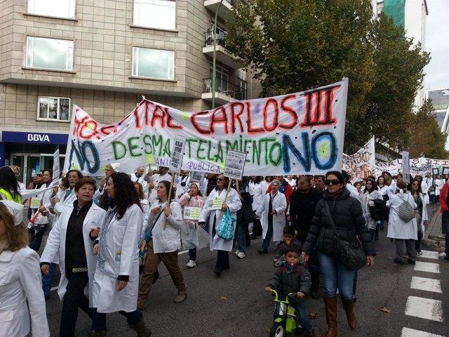 Manifestación del personal sanitario de la Comunidad de Madrid