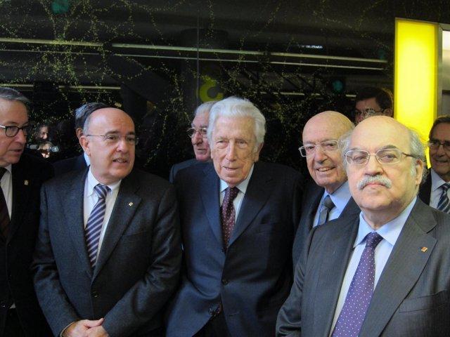 El mecenas Pere Mir con los consellers B.Ruiz y A.Mas-Colell
