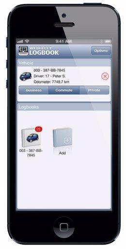 Aplicación  WEBFLEET Logbook de TomTom para iPhone