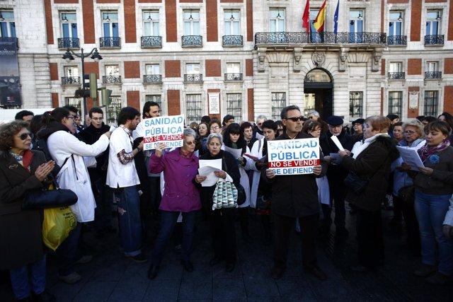 Manifestación de médicos en Sanidad