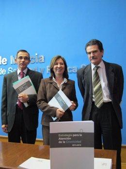Pérez, Palacios y Herrero, en la rueda de prensa