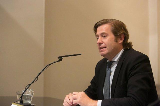 Javier Gomá, durante su intervención en el Museo de Navarra.
