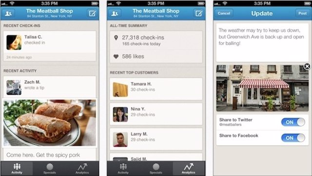 Pantallazo Foursquare for Bussiness